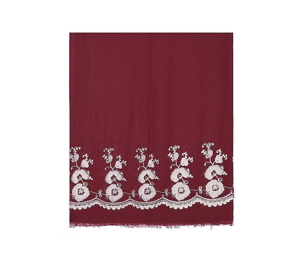 Flora, le foulard (châle, hijab) brodé de fleurs, version Bordeaux et Blanc