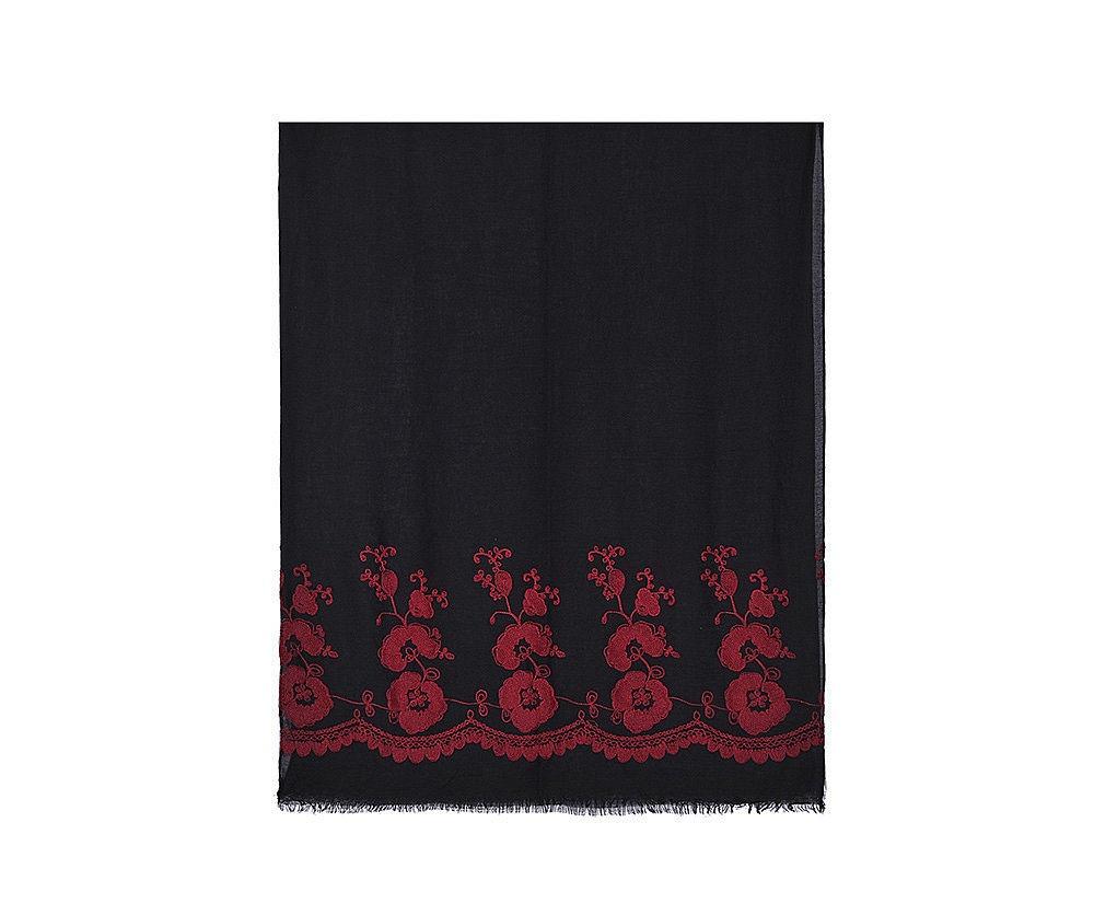 Flora, le foulard (châle, hijab) brodé de fleurs, version Noir et Rouge