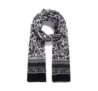 foulard fleuri noir et blanc mjp