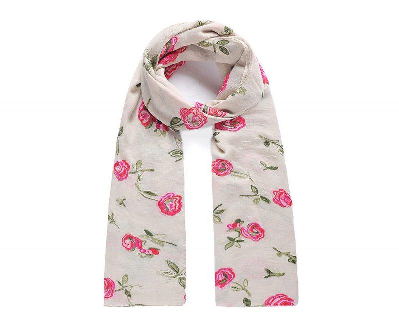 foulard_beige_brode_fleurs_roses