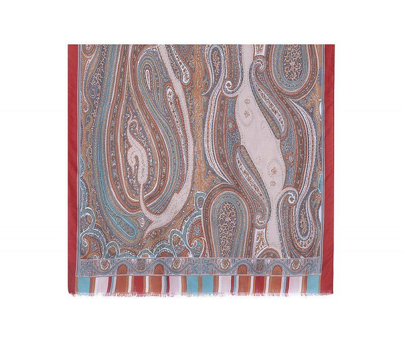 foulard effet cachemire orange et bleu mjp