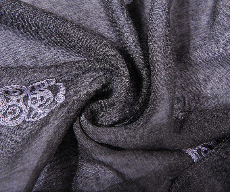 foulard gris broderie hiboux chale hijab