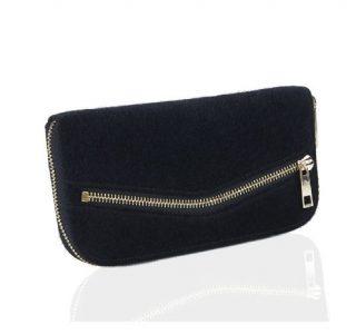 Portefeuille noir fourrure pochette zip