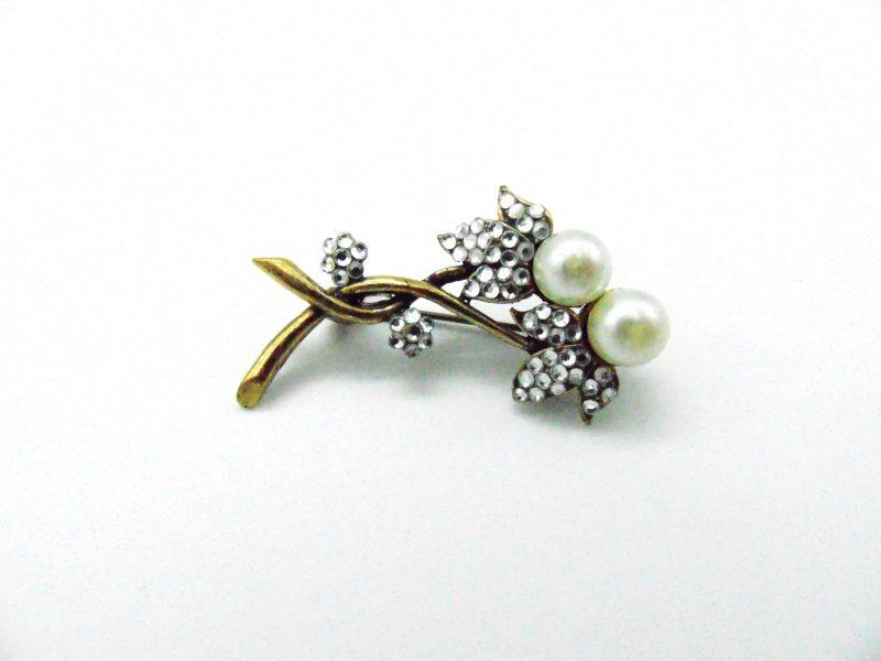 Broche bronze vintage fleur en perle et cristal