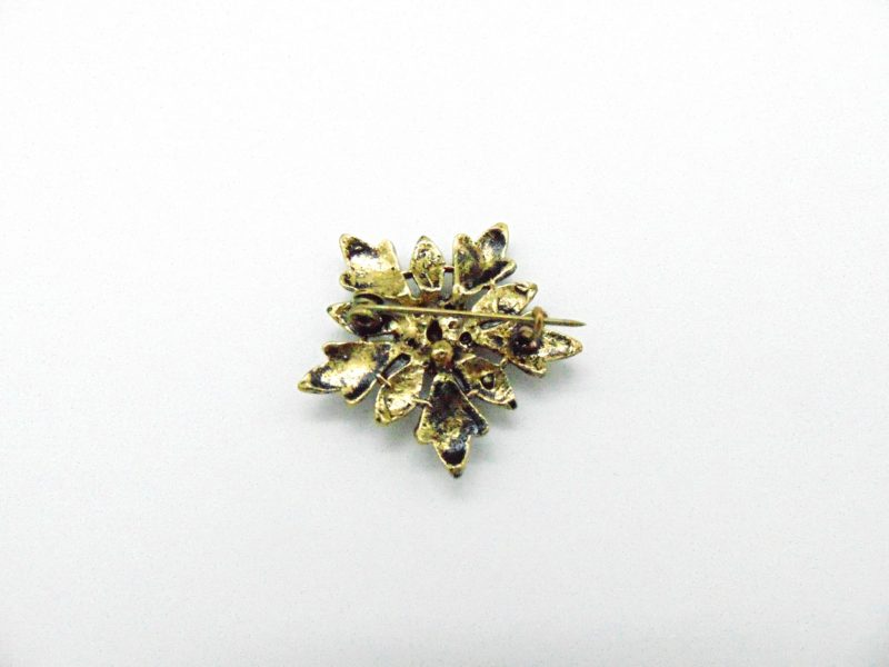 Broche bronze vintage flocon de neige en cristal