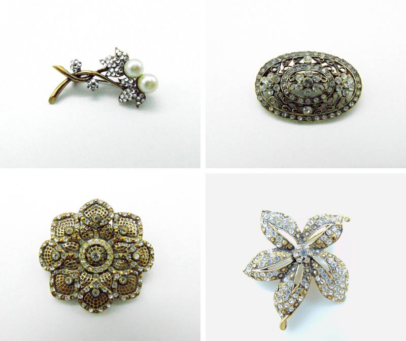 broche bronze vintage strass en cristal