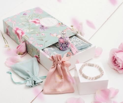 Accueil : mon joli parfum un coffret avec flacon, foulard et bijou !